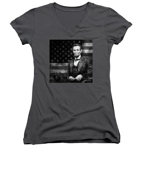Abraham Lincoln With American Flag  Women's V-Neck T-Shirt (Junior Cut) by Gull G