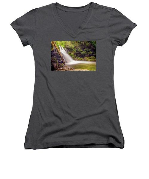 Abrams Falls Women's V-Neck T-Shirt (Junior Cut) by David Cote