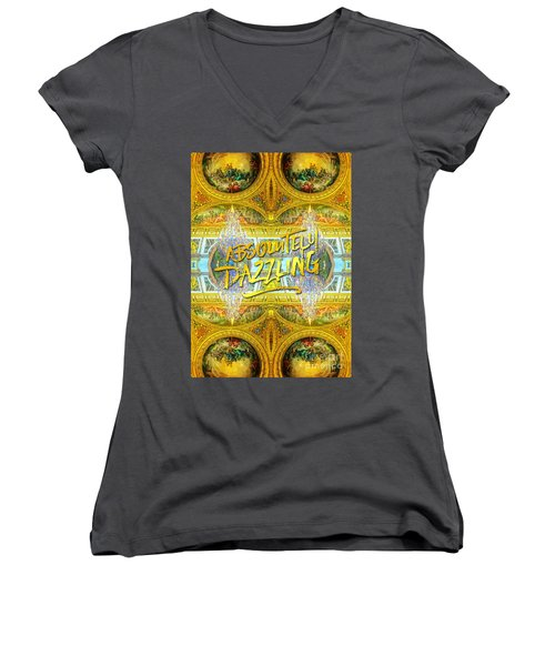 Absolutely Dazzling Hall Of Mirrors Versailles Palace Paris Women's V-Neck