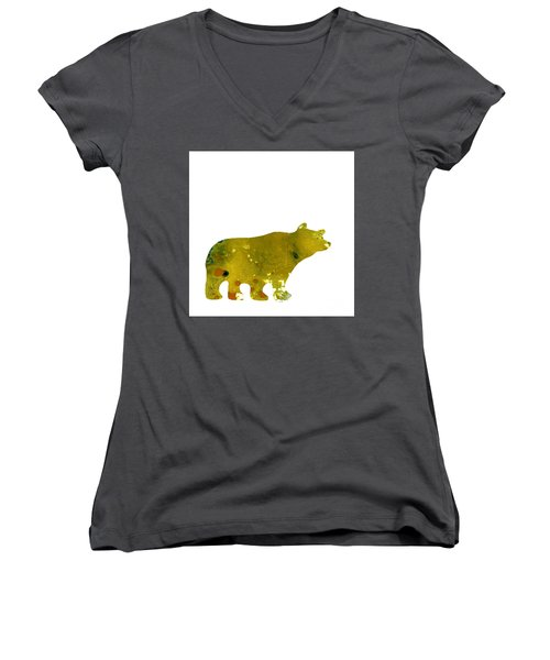 Abstract Acrylic Painting Bear II Women's V-Neck T-Shirt (Junior Cut) by Saribelle Rodriguez