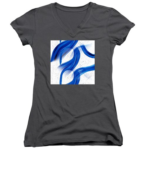 Abstract Acrylic Painting Blues Series 2 Women's V-Neck T-Shirt (Junior Cut) by Saribelle Rodriguez