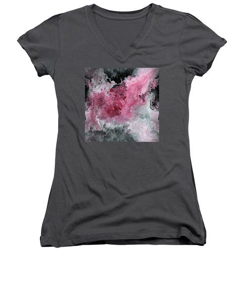 Abstract Acrylic Painting Red Black And White Women's V-Neck T-Shirt (Junior Cut) by Saribelle Rodriguez