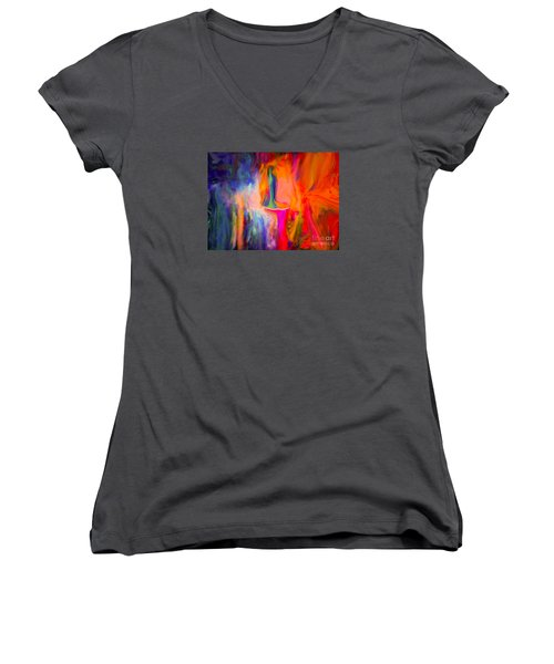 Women's V-Neck T-Shirt (Junior Cut) featuring the painting Abstract Art  Waiting by Sherri  Of Palm Springs