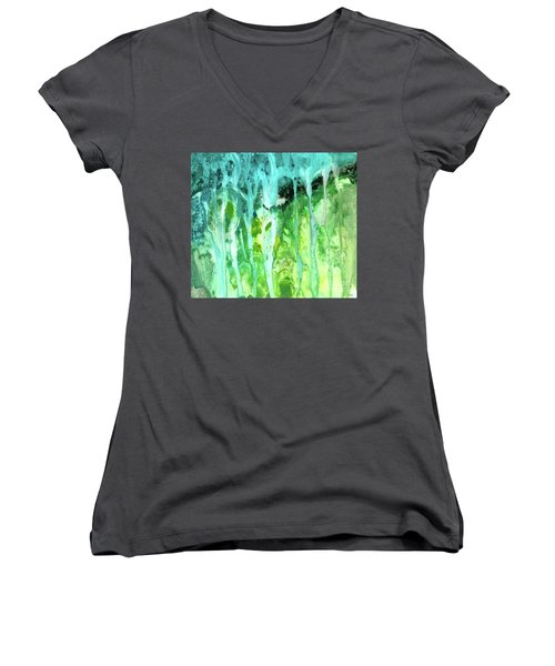Abstract Art Waterfall Women's V-Neck T-Shirt (Junior Cut) by Saribelle Rodriguez