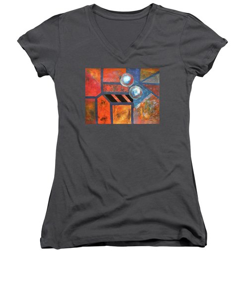 Abstract Autumn Women's V-Neck (Athletic Fit)