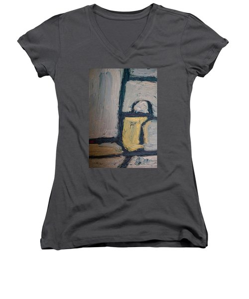 Women's V-Neck T-Shirt (Junior Cut) featuring the painting Abstract Blue Shapes by Shea Holliman