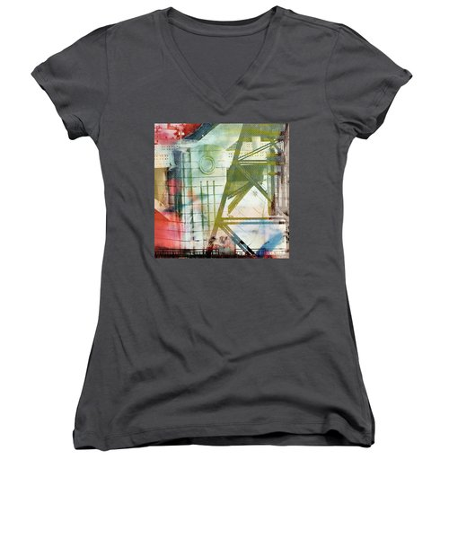 Abstract Bridge With Color Women's V-Neck T-Shirt