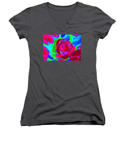 Abstract Burgundy Roses Women's V-Neck T-Shirt (Junior Cut) by Karen J Shine