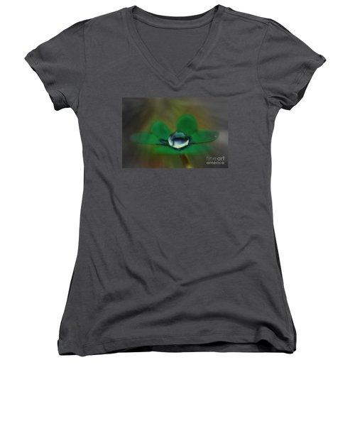 Abstract Clover Women's V-Neck T-Shirt (Junior Cut) by Kym Clarke