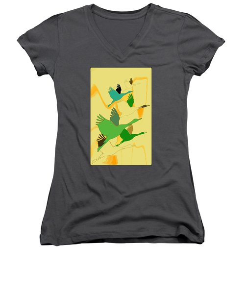 Abstract Cranes Women's V-Neck (Athletic Fit)