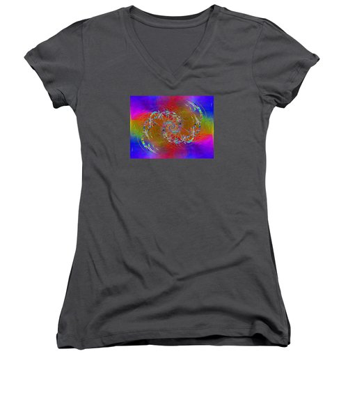 Women's V-Neck T-Shirt (Junior Cut) featuring the digital art Abstract Cubed 351 by Tim Allen