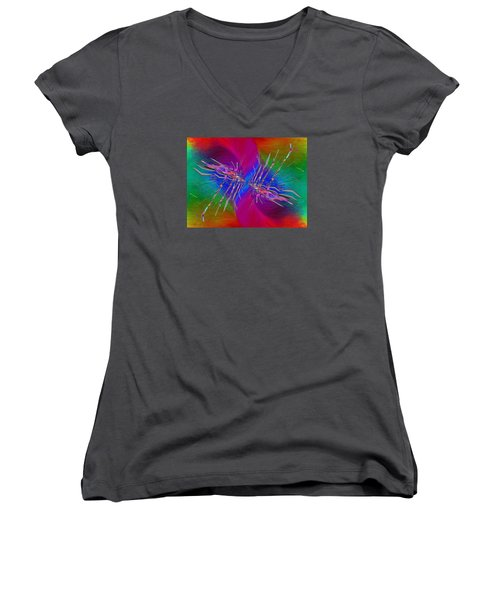 Women's V-Neck T-Shirt (Junior Cut) featuring the digital art Abstract Cubed 353 by Tim Allen