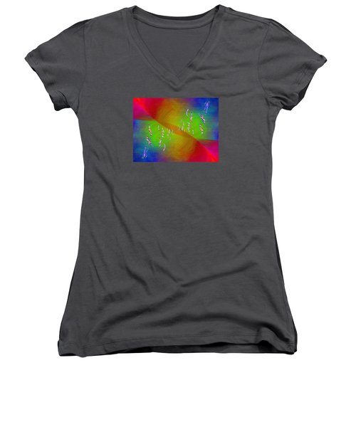 Women's V-Neck T-Shirt (Junior Cut) featuring the digital art Abstract Cubed 355 by Tim Allen