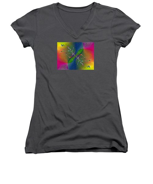 Women's V-Neck T-Shirt (Junior Cut) featuring the digital art Abstract Cubed 356 by Tim Allen