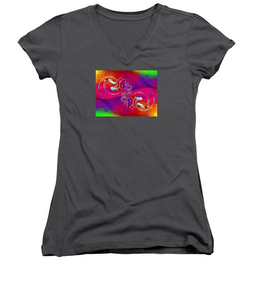 Women's V-Neck T-Shirt (Junior Cut) featuring the digital art Abstract Cubed 360 by Tim Allen