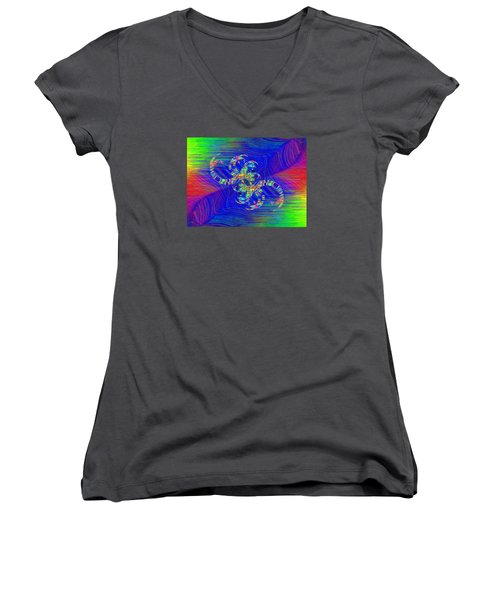 Women's V-Neck T-Shirt (Junior Cut) featuring the digital art Abstract Cubed 362 by Tim Allen