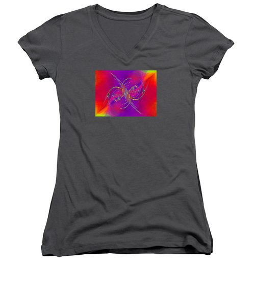 Women's V-Neck T-Shirt (Junior Cut) featuring the digital art Abstract Cubed 365 by Tim Allen