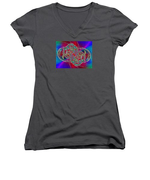 Women's V-Neck T-Shirt (Junior Cut) featuring the digital art Abstract Cubed 367 by Tim Allen