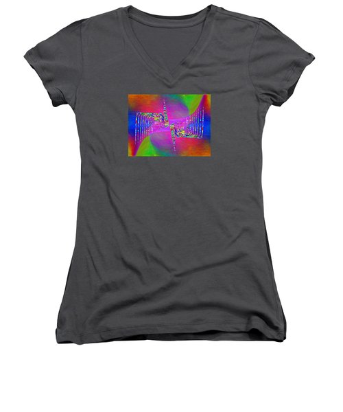 Women's V-Neck T-Shirt (Junior Cut) featuring the digital art Abstract Cubed 373 by Tim Allen
