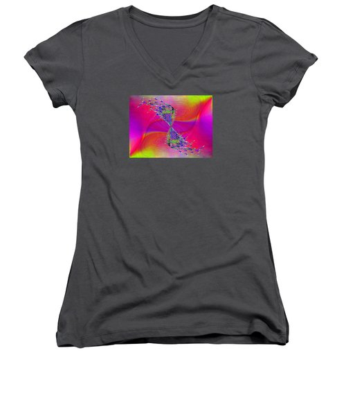 Women's V-Neck T-Shirt (Junior Cut) featuring the digital art Abstract Cubed 377 by Tim Allen