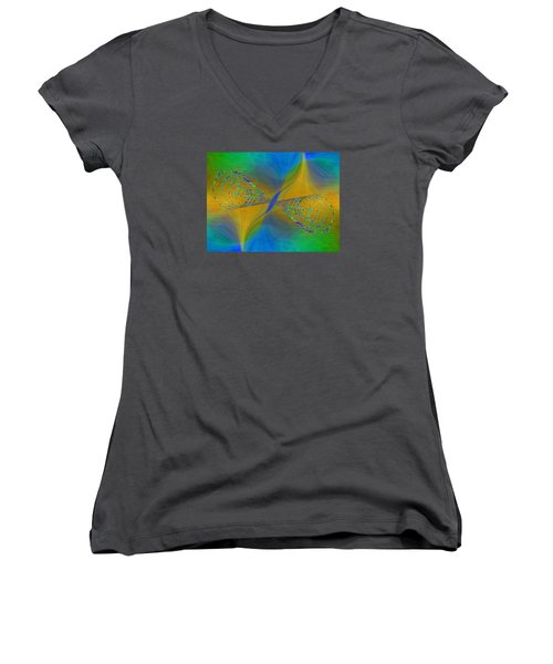 Women's V-Neck T-Shirt (Junior Cut) featuring the digital art Abstract Cubed 380 by Tim Allen