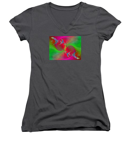 Women's V-Neck T-Shirt (Junior Cut) featuring the digital art Abstract Cubed 383 by Tim Allen
