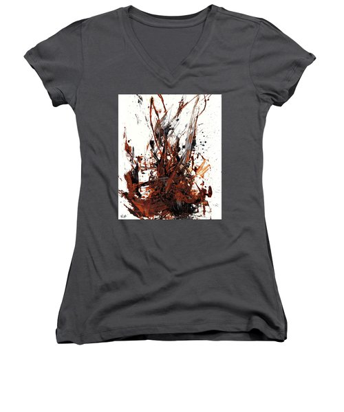 Abstract Expressionism Painting 50.072110 Women's V-Neck T-Shirt (Junior Cut) by Kris Haas