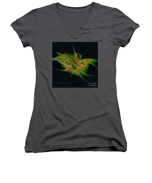 Women's V-Neck T-Shirt (Junior Cut) featuring the digital art Abstract Ffz by Deborah Benoit