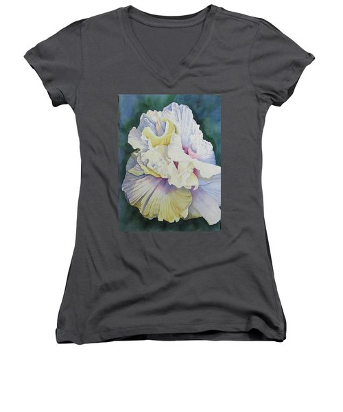 Women's V-Neck T-Shirt (Junior Cut) featuring the painting Abstract Floral by Teresa Beyer