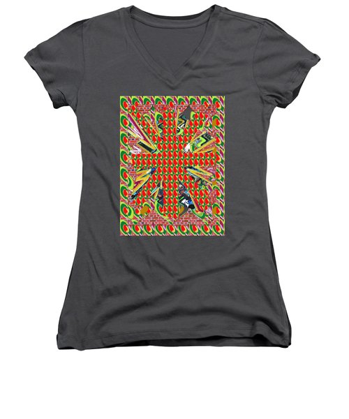 Abstract Flowers Floral Leaf Leaves Colorful Modern Art Navinjoshi Fineartamerica Pixels Women's V-Neck (Athletic Fit)