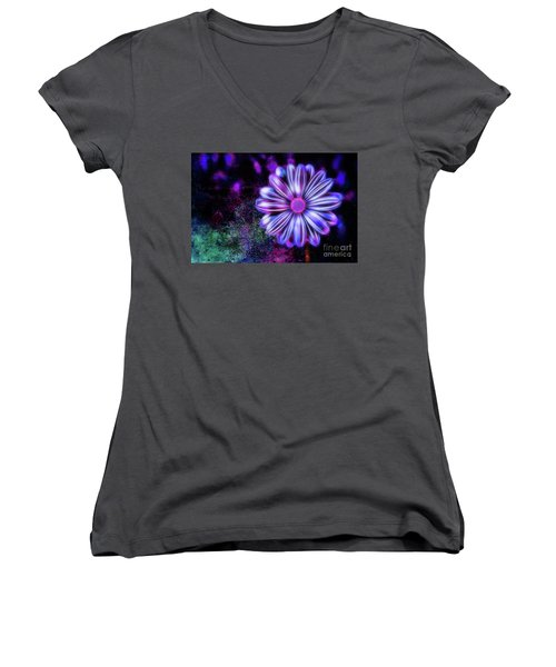 Abstract Glowing Purple And Blue Flower Women's V-Neck