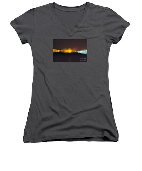 Women's V-Neck T-Shirt (Junior Cut) featuring the photograph Abstract Light  by Odon Czintos