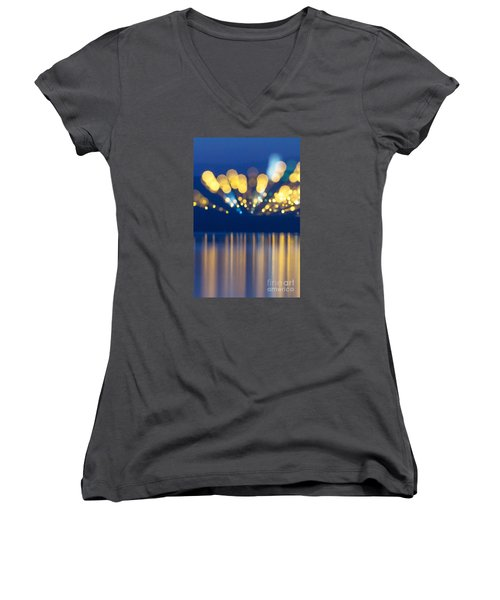 Abstract Light Texture With Mirroring Effect Women's V-Neck T-Shirt (Junior Cut) by Odon Czintos