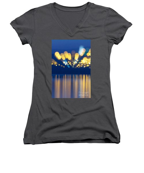 Abstract Light Texture With Mirroring Effect Women's V-Neck