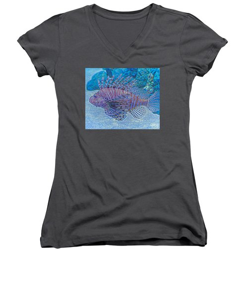 Abstract Lionfish Women's V-Neck (Athletic Fit)