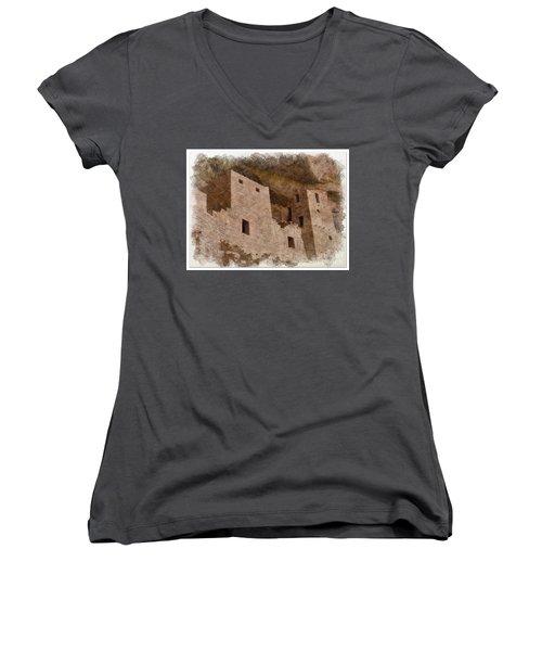Women's V-Neck T-Shirt (Junior Cut) featuring the photograph Abstract Mesa Verde by Debby Pueschel