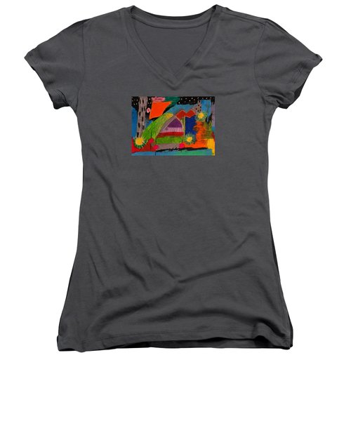 Abstract No. 7 Inner Landscape Women's V-Neck T-Shirt (Junior Cut) by Maria  Disley