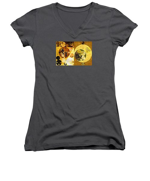 Women's V-Neck T-Shirt (Junior Cut) featuring the digital art Abstract Painting - Golden Brown by Vitaliy Gladkiy