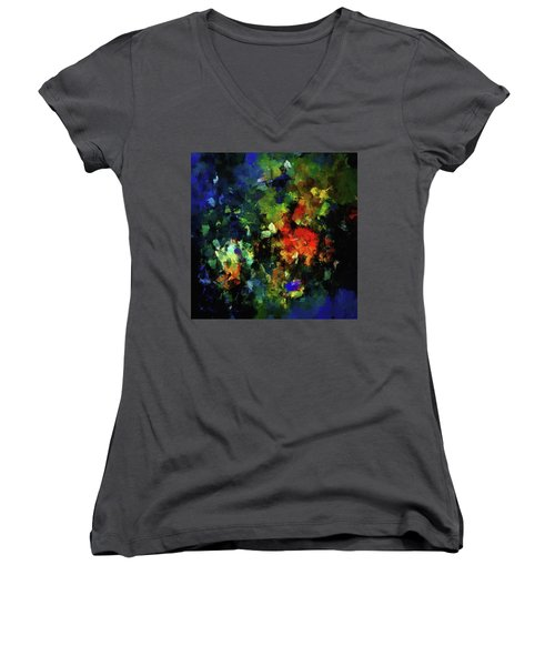 Women's V-Neck T-Shirt (Junior Cut) featuring the painting Abstract Painting In Dark Blue Tones by Ayse Deniz