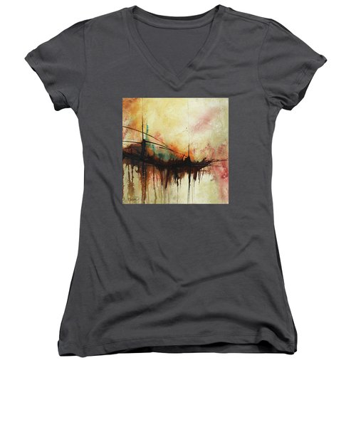 Abstract Painting Contemporary Art Women's V-Neck (Athletic Fit)