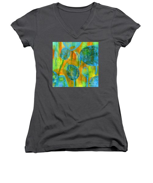 Abstract Painting No. 1 Women's V-Neck T-Shirt (Junior Cut) by David Gordon