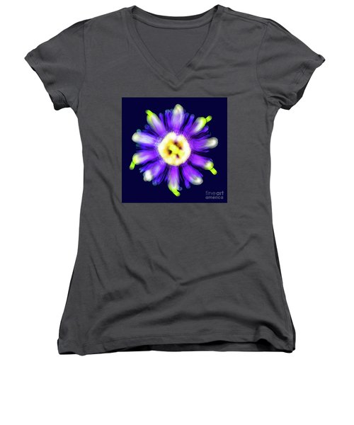 Abstract Passion Flower In Violet Blue And Green 002b Women's V-Neck