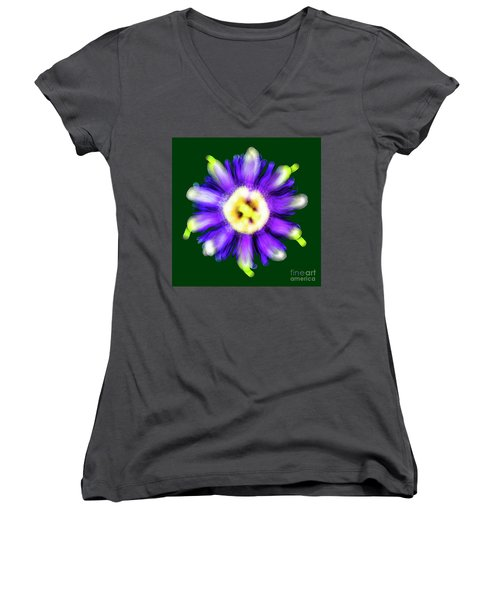 Abstract Passion Flower In Violet Blue And Green 002g Women's V-Neck