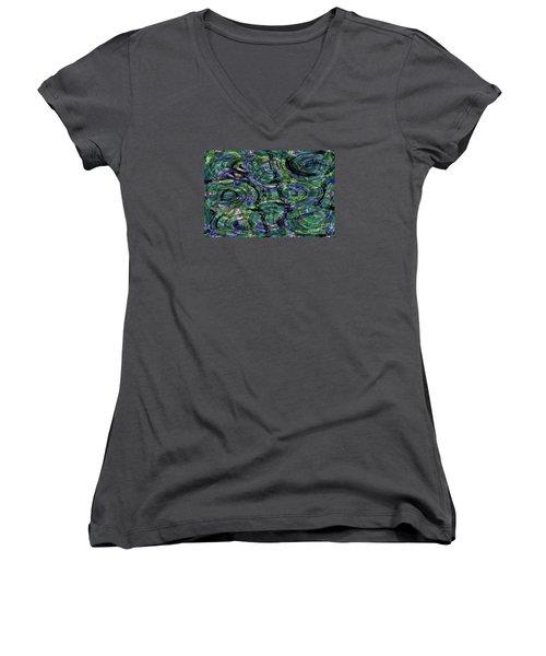 Abstract Pattern 5 Women's V-Neck T-Shirt (Junior Cut) by Jean Bernard Roussilhe