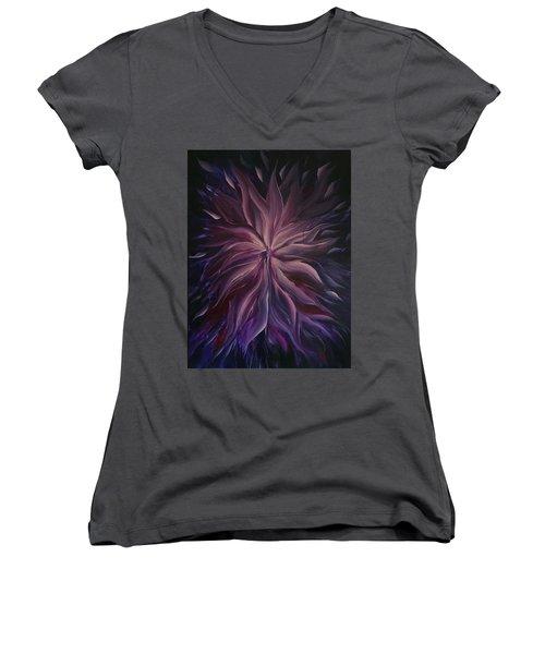 Abstract Purple Flower Women's V-Neck