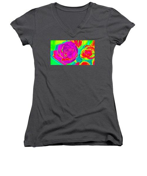 Abstract Roses Women's V-Neck T-Shirt (Junior Cut) by Karen J Shine