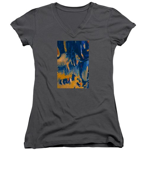 Women's V-Neck T-Shirt (Junior Cut) featuring the painting Abstract Sail by Nop Briex