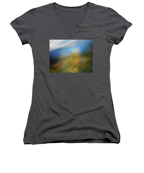 Women's V-Neck T-Shirt (Junior Cut) featuring the photograph Abstract Sunflowers by Marilyn Hunt