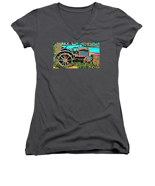 Women's V-Neck T-Shirt (Junior Cut) featuring the digital art Abstract Tractor Los Olivos California by Floyd Snyder