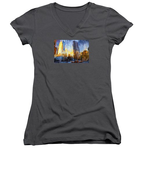 Women's V-Neck T-Shirt (Junior Cut) featuring the photograph Abstract Vision by John Rivera